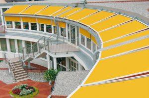 gelbe Außenmarkise von Sunhouse mit Funkmotor
