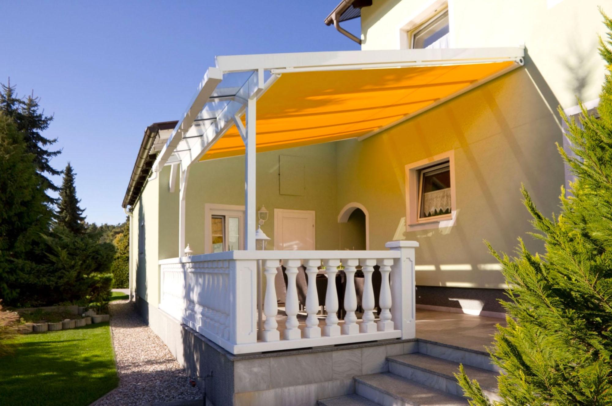 Terrassendach - Classic in gelb von Sunhouse Wintergärten