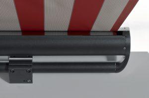 Antrieb Gelenksarmmarkise - freitragend in rot als Detailansicht