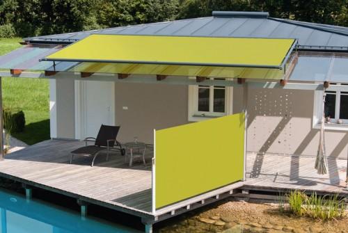 Seitenzugmarkise in gelb für die Terrasse von Sunhouse